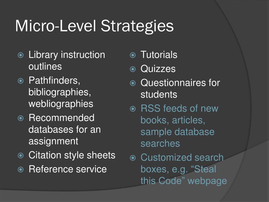 Micro-Level Strategies