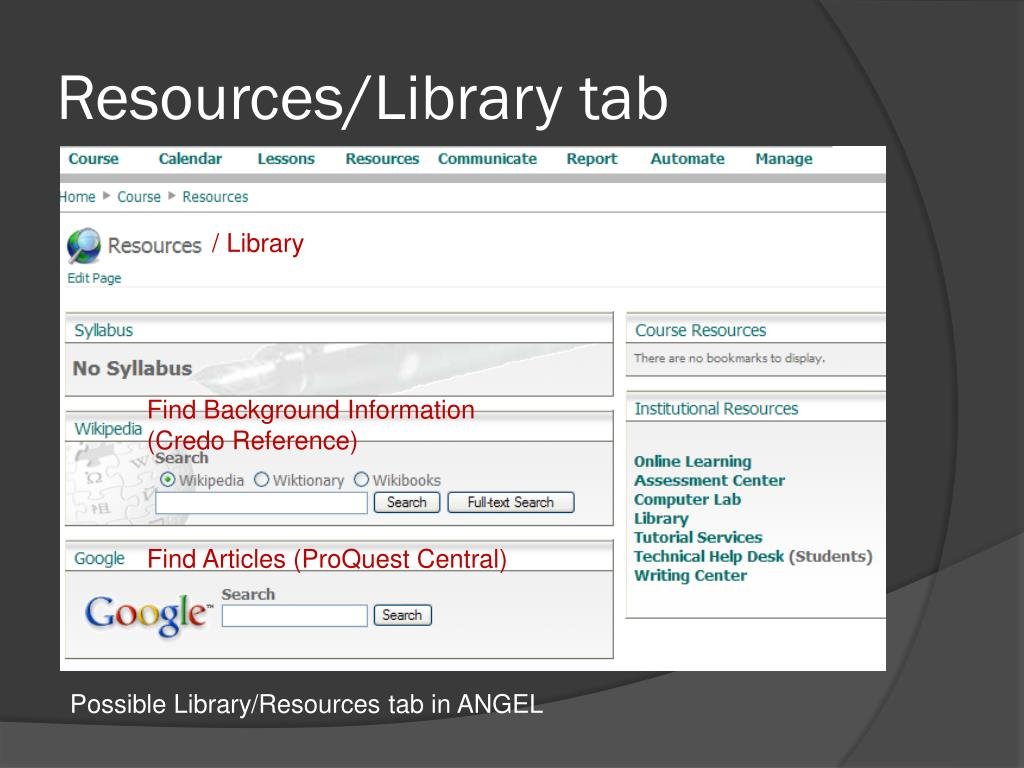 Resources/Library tab
