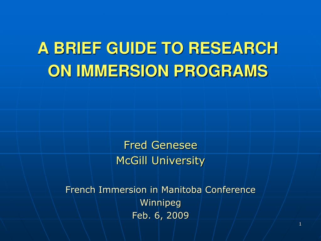 a brief guide to research on immersion programs l.