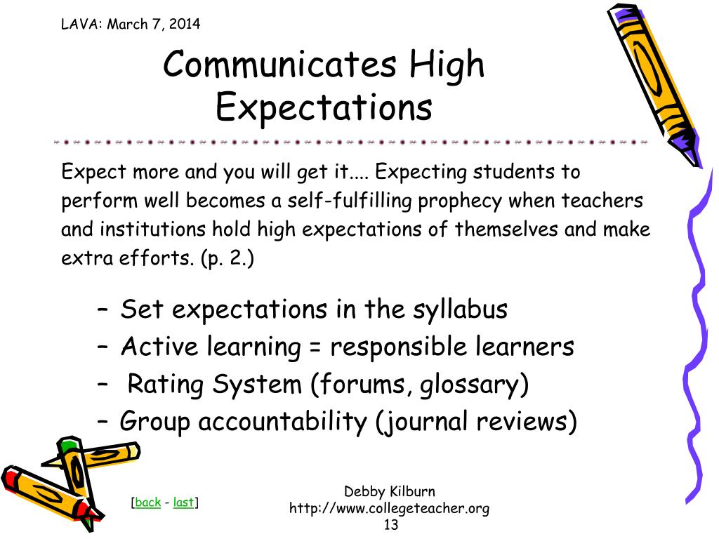 Communicates High Expectations