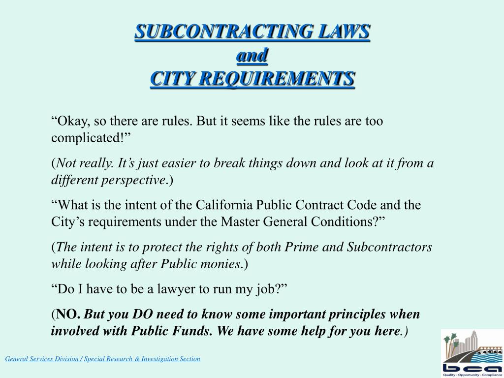 subcontracting laws and city requirements l.
