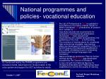 national programmes and policies vocational education