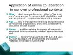 application of online collaboration in our own professional contexts