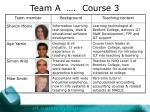 team a course 3