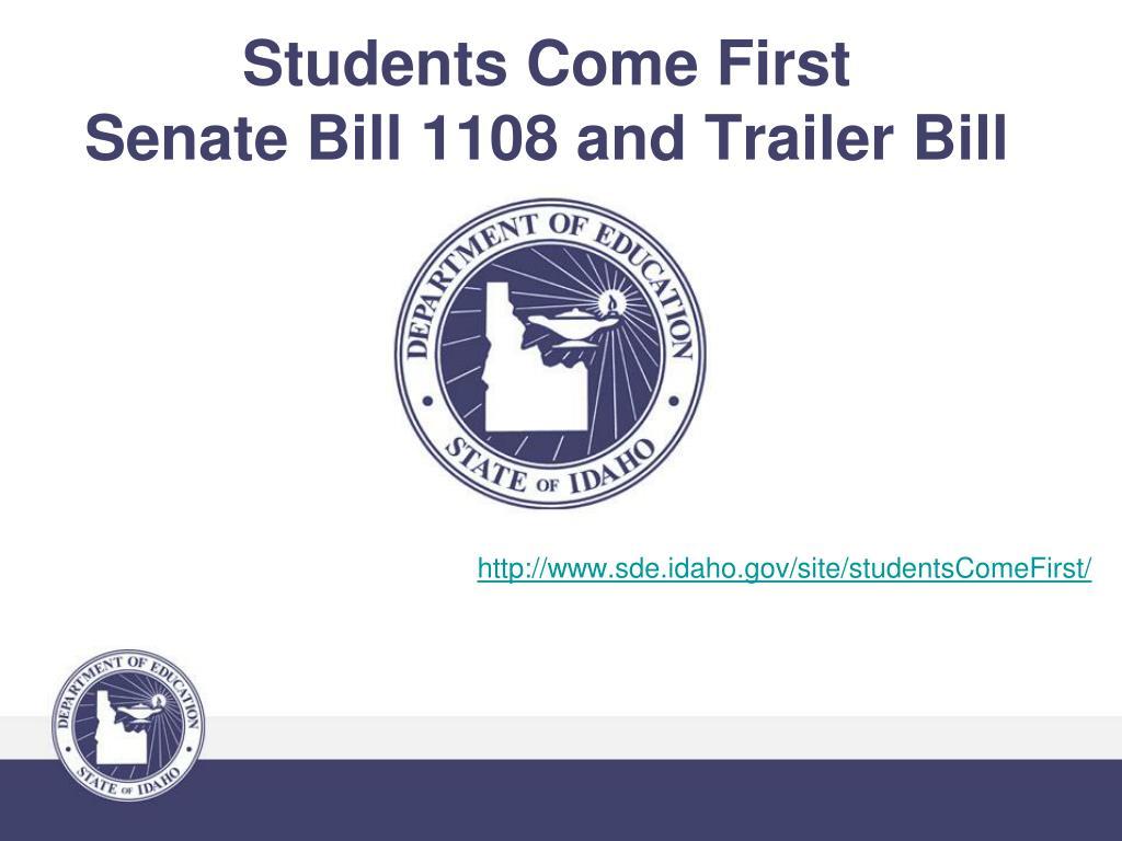 students come first senate bill 1108 and trailer bill l.