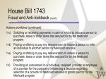 house bill 1743 fraud and anti kickback cont