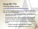house bill 1743 third party billing vendors