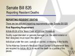 senate bill 826 reporting resident deaths