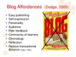 blog affordances dodge 2005