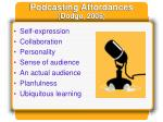 podcasting affordances dodge 2005