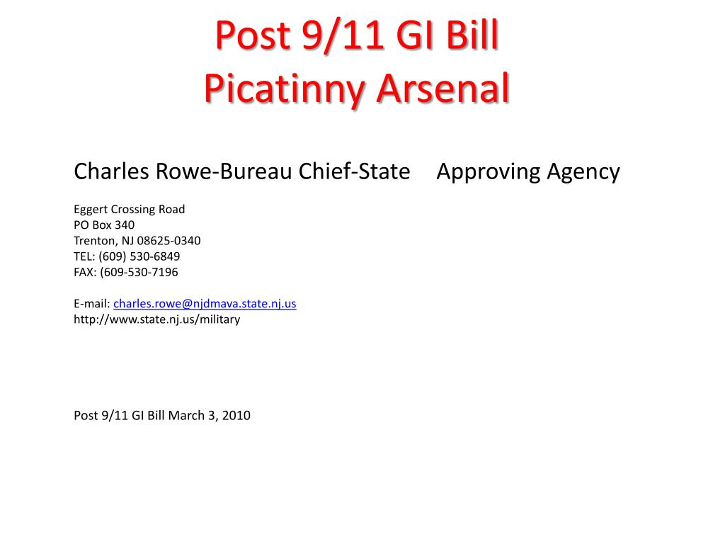 post 9 11 gi bill picatinny arsenal l.