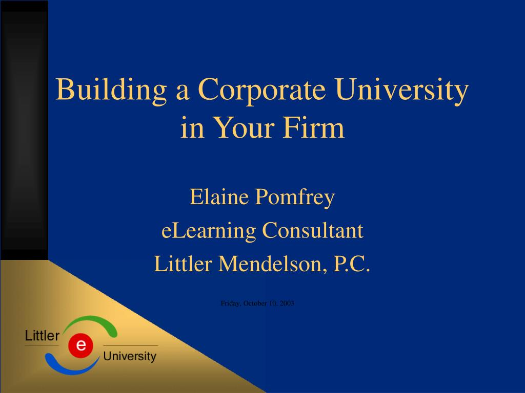 building a corporate university in your firm l.