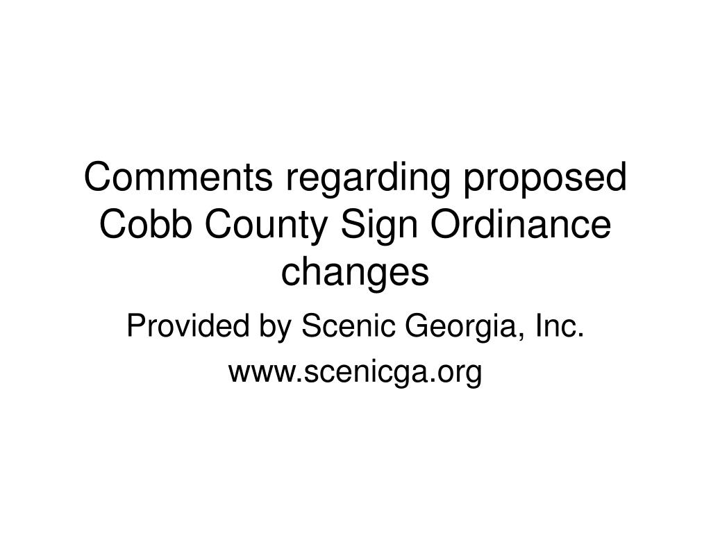 Comments regarding proposed Cobb County Sign Ordinance changes
