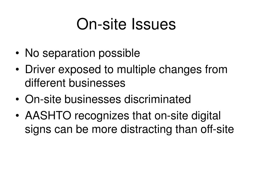 On-site Issues
