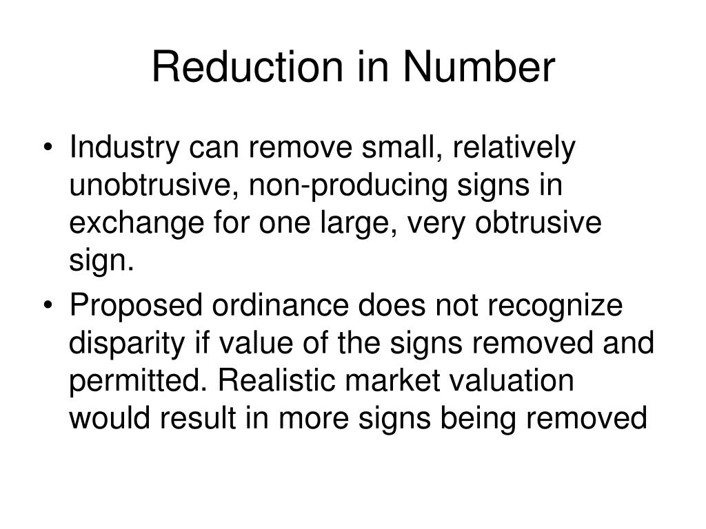 Reduction in Number