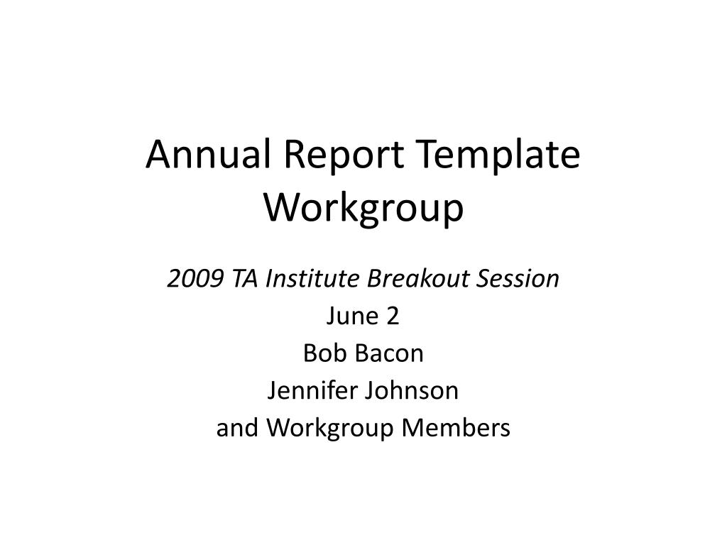 annual report template workgroup l.
