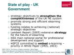state of play uk government
