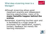 what does elearning mean to a manager