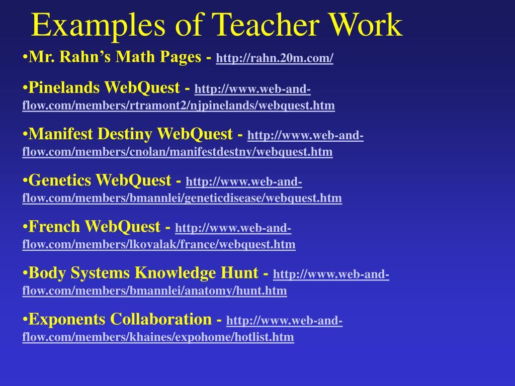 Examples of Teacher Work