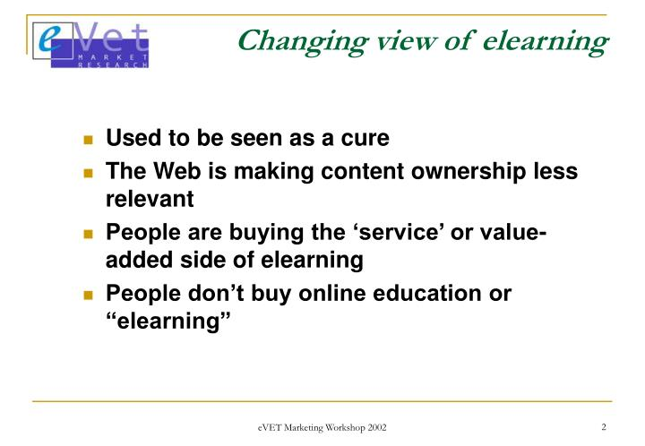 Changing view of elearning