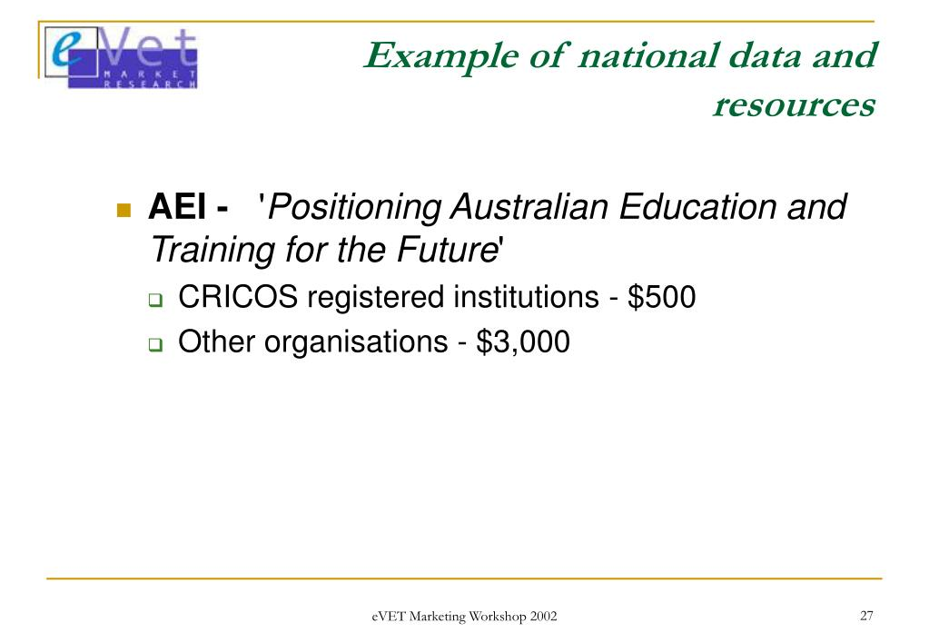 Example of national data and resources