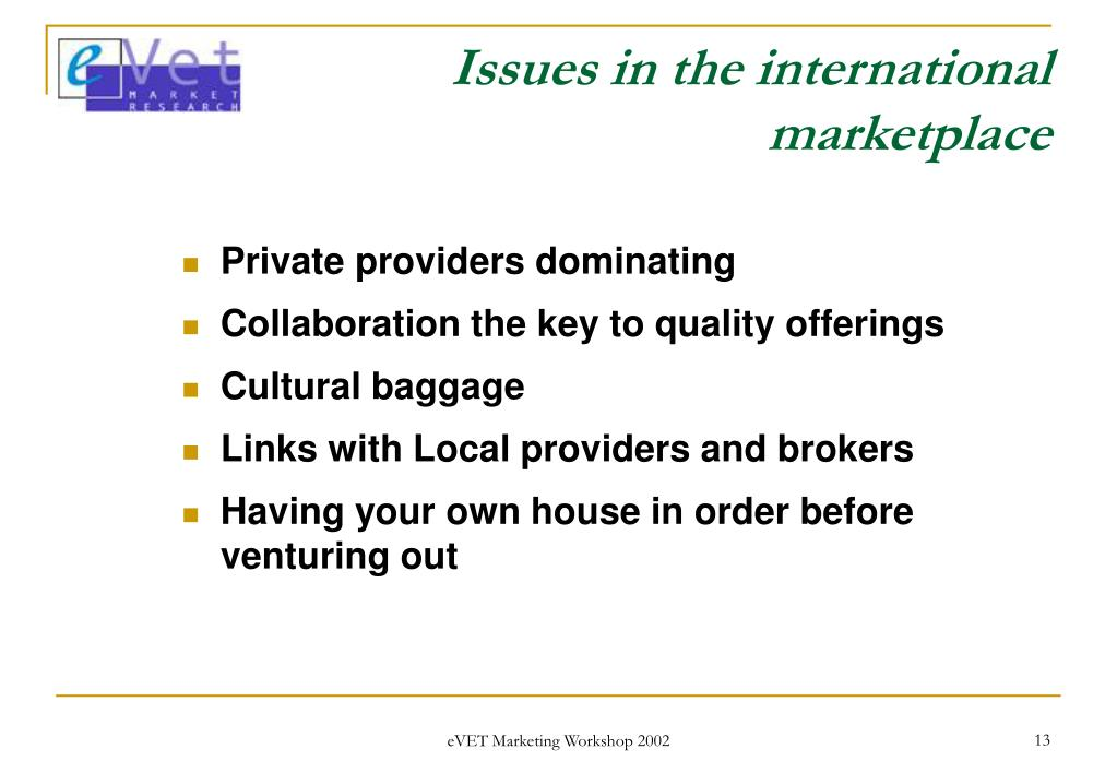 Issues in the international marketplace