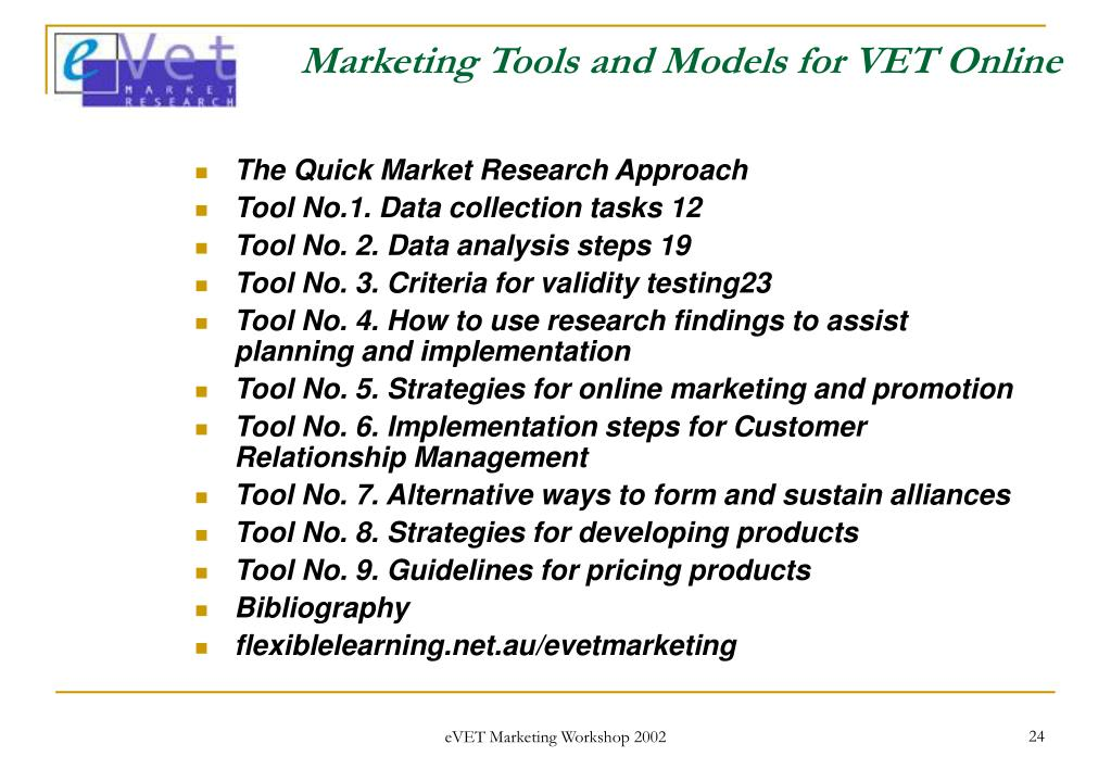 Marketing Tools and Models for VET Online