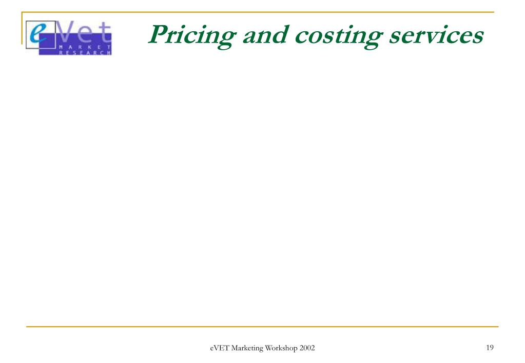 Pricing and costing services