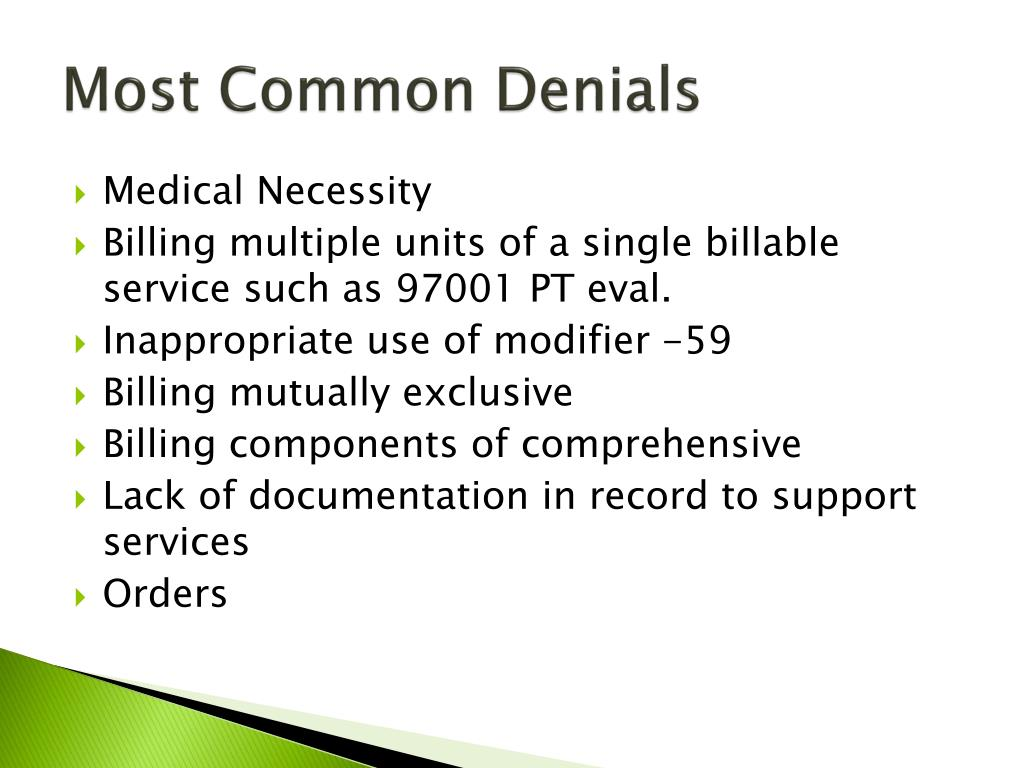 Most Common Denials