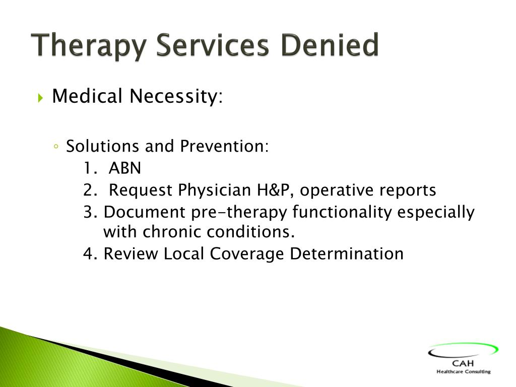 Therapy Services Denied