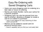 easy re ordering with saved shopping carts