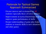 rationale for tactical games approach summarized