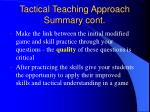 tactical teaching approach summary cont