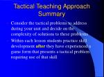 tactical teaching approach summary