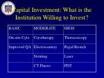 capital investment what is the institution willing to invest