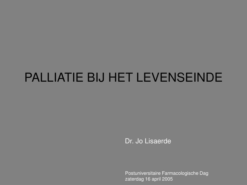 palliatie bij het levenseinde l.