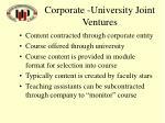 corporate university joint ventures