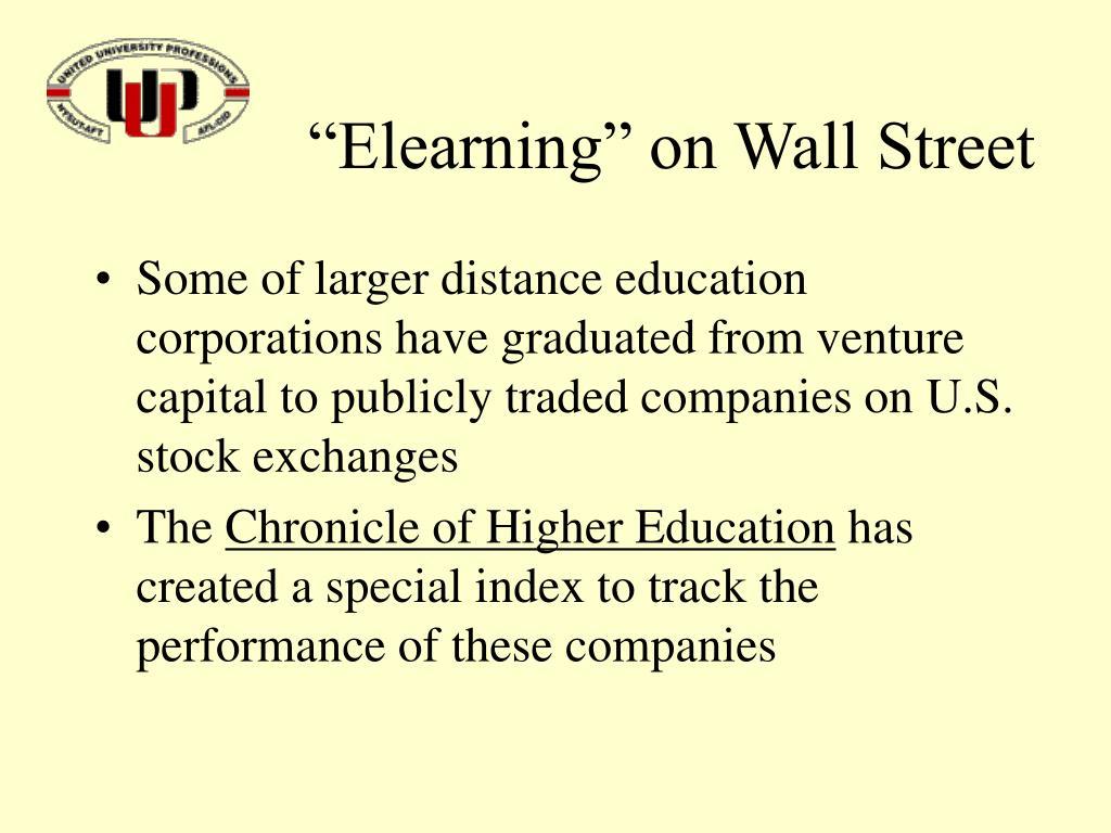 """Elearning"" on Wall Street"
