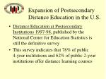 expansion of postsecondary distance education in the u s