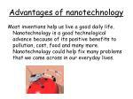 advantages of nanotechnology