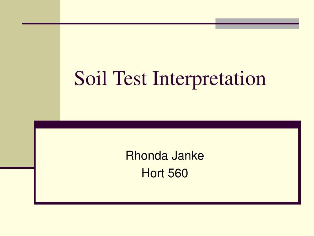 soil test interpretation l.