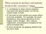 three reasons to not have soil nutrient levels in the excessive range