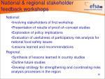 national regional stakeholder feedback workshops