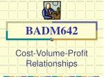 cost volume profit relationships