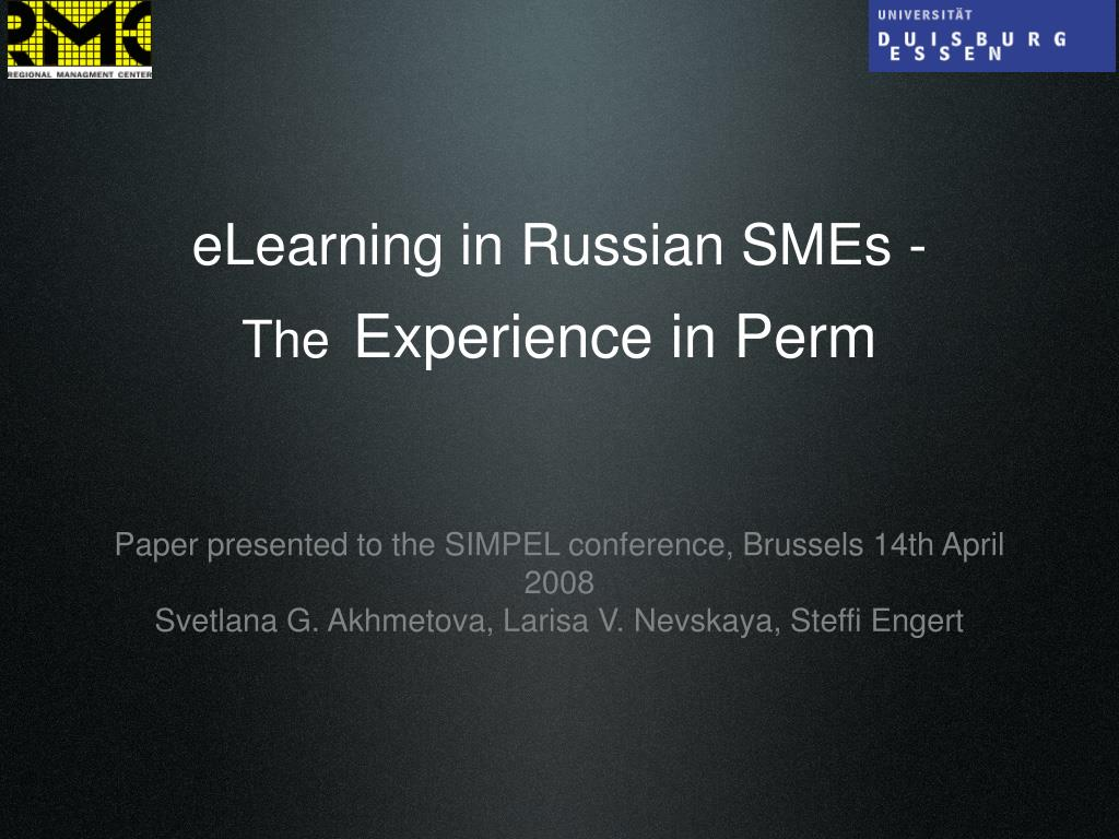 elearning in russian smes the experience in perm l.