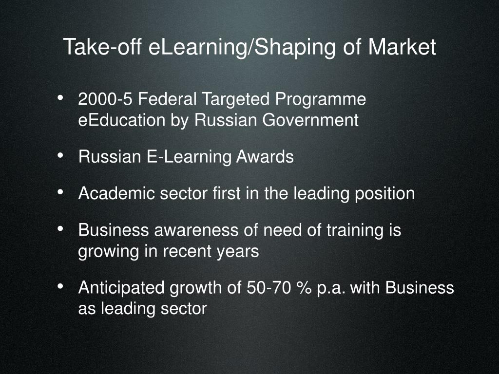 Take-off eLearning/Shaping of Market