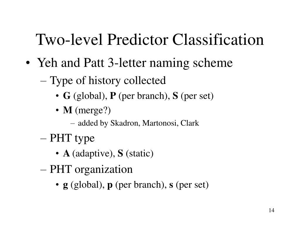 Two-level Predictor Classification