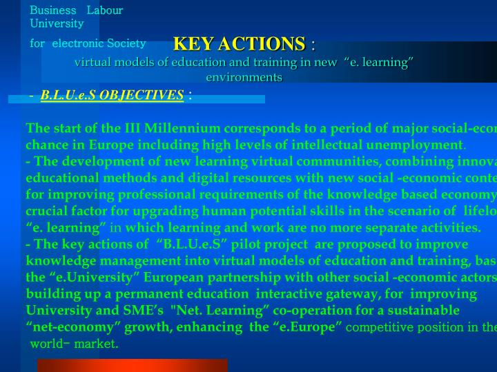 Key actions virtual models of education and training in new e learning environments