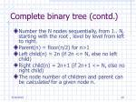 complete binary tree contd