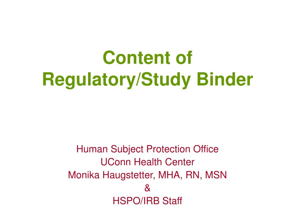 content of regulatory study binder l.